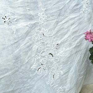 Large White Linen Tablecloth Cutwork Embroidery
